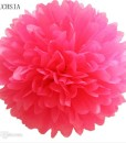 Like paper peonies, fabulously fluffy, incredibly versatile, this tissue paper pom-pom comes in three select sizes. Perfect for weddings, birthday parties, showers and decorating the nursery. Layers of folded tissue paper have rounded edges and are tied in the center with a white ribbon. Gently pull apart layers to create a 10-inch diameter flower.