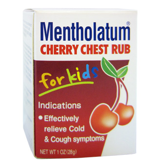 cough and colds, chest rub, camphor, mentholatum, kids meds, kids, toddlers, cherry chest rub
